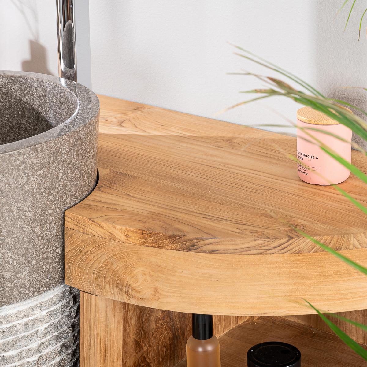 Vasque Sur Pied Avec Meuble meuble sous vasque en teck florence 120cm + vasque gris