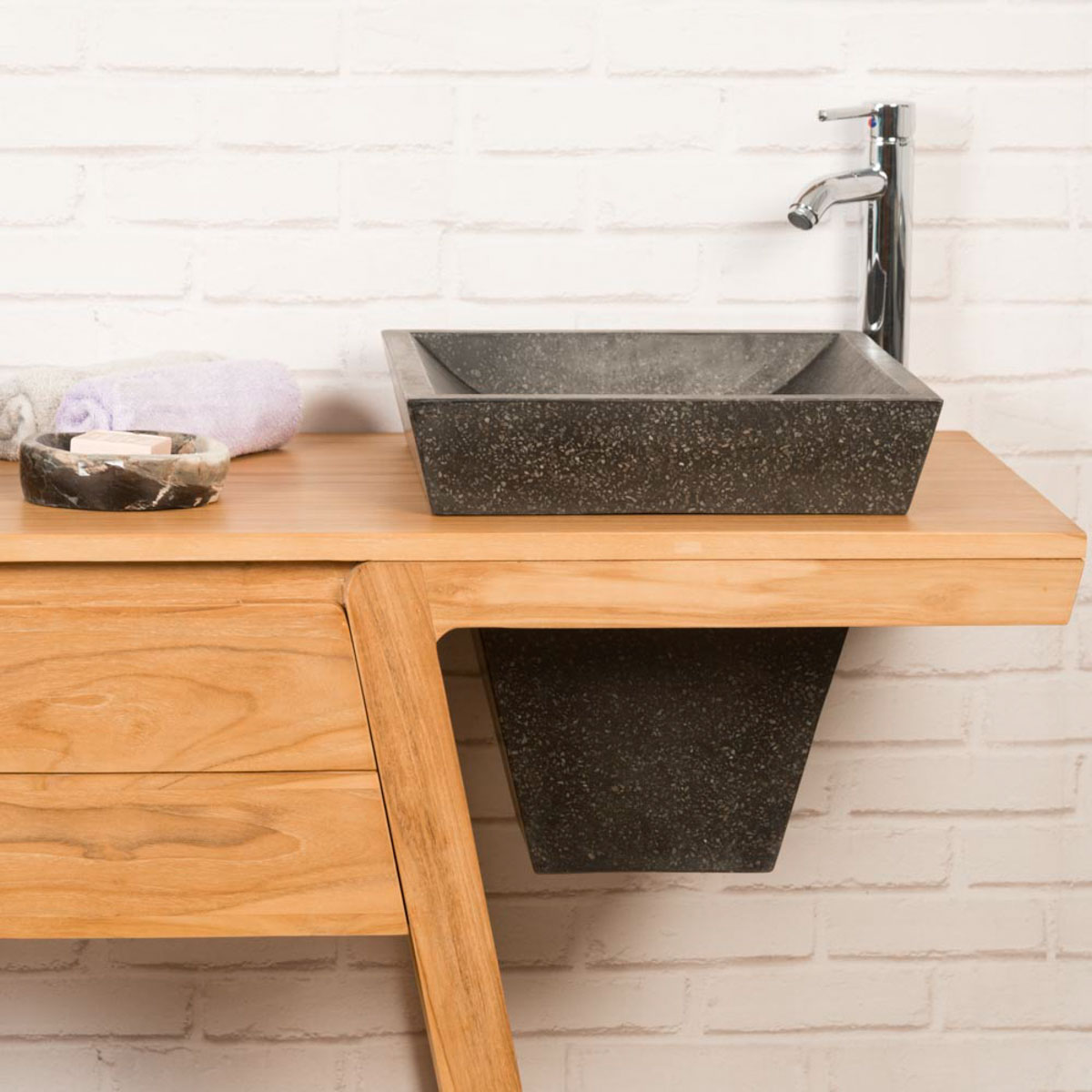 Meuble salle de bain meuble sous vasque teck kh ops 140 cm - Meuble salle de bain sous vasque ...
