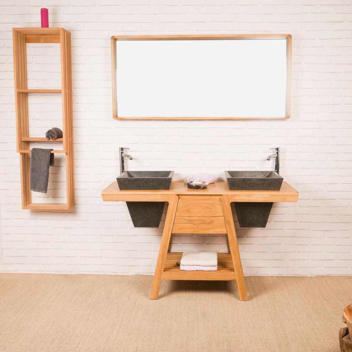 Meuble salle de bain meuble sous vasque teck kh ops 140 cm for Meuble sous vasque