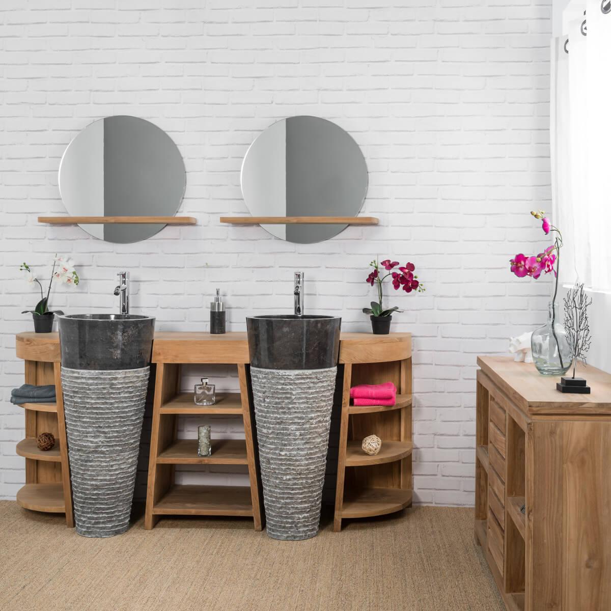 Miroir Salle De Bain 120 meuble sous vasque en teck massif 120 cm