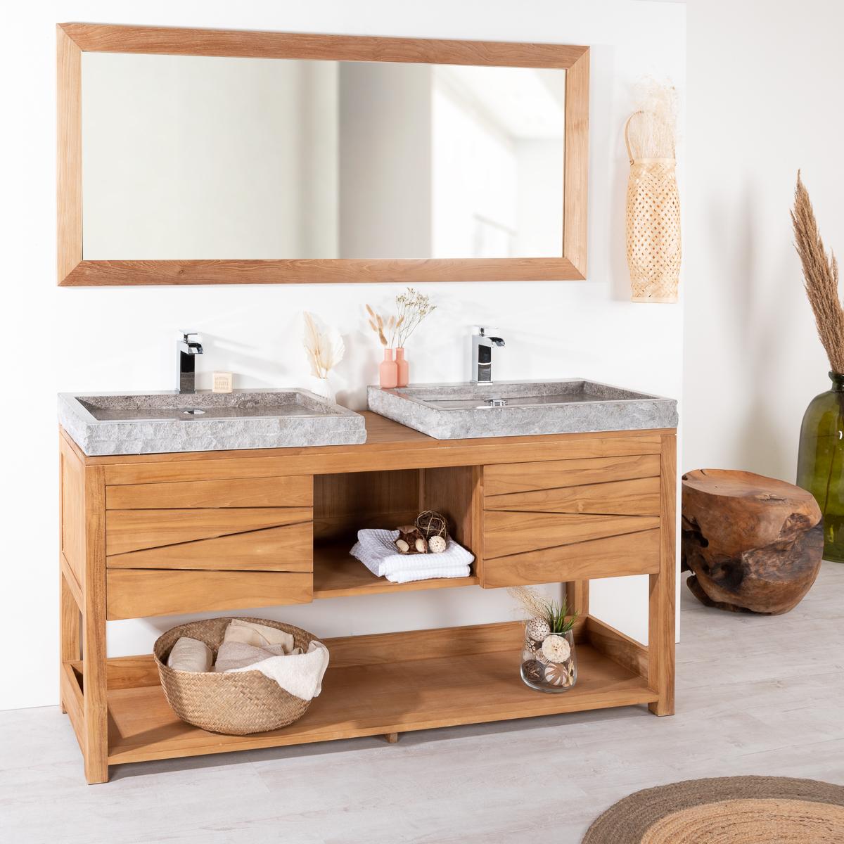 Meuble double en teck massif cosy 160cm 2 vasques gris - Meuble salle de bain teck design ...
