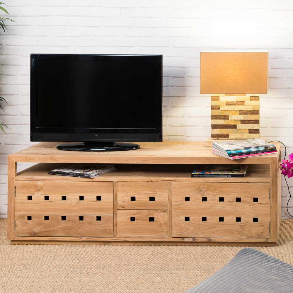 Meuble tv teck meuble bois rectangle bois naturel for Meuble tele 120 cm