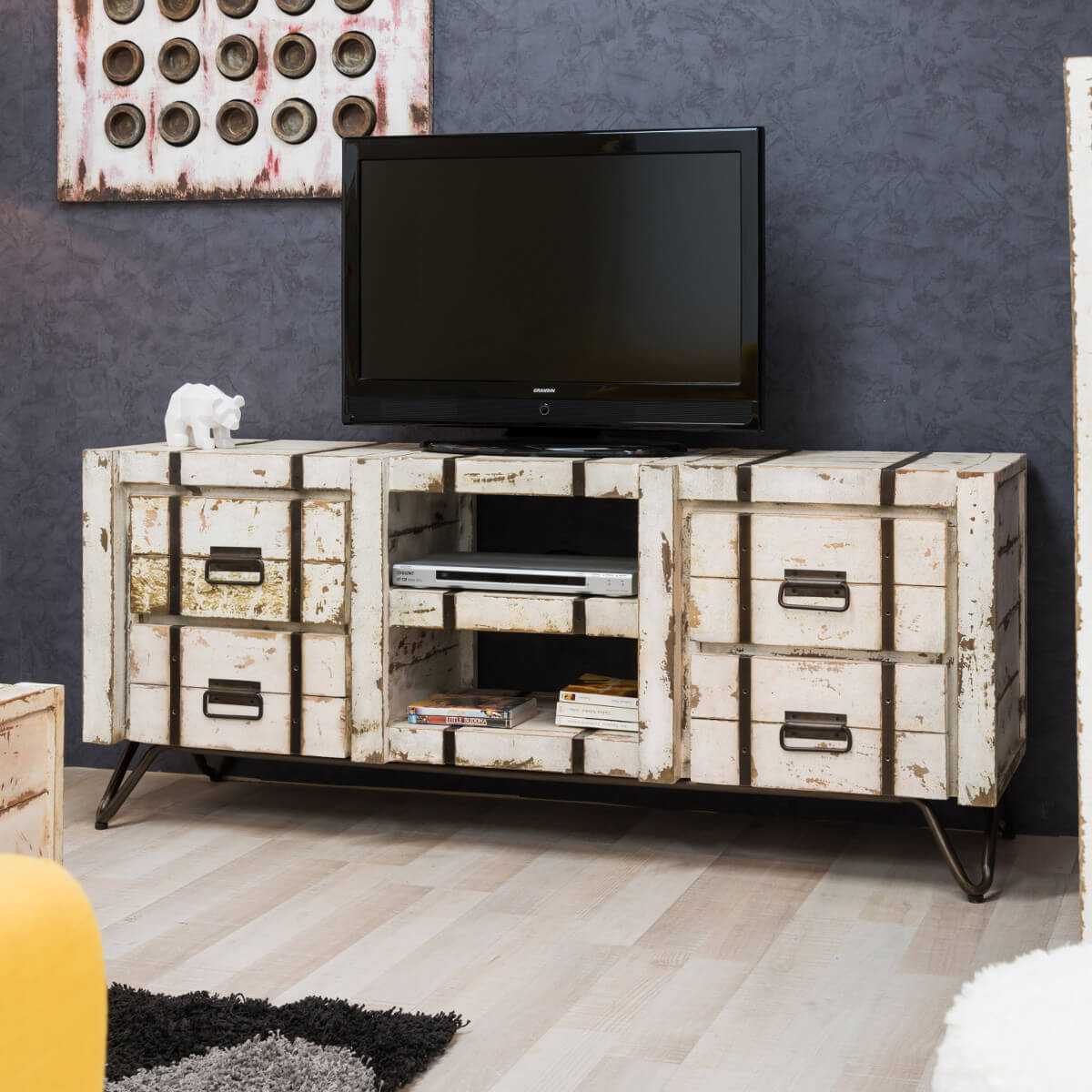 meuble tv loft : meuble tv industriel, bois massif, rectangle, blanc