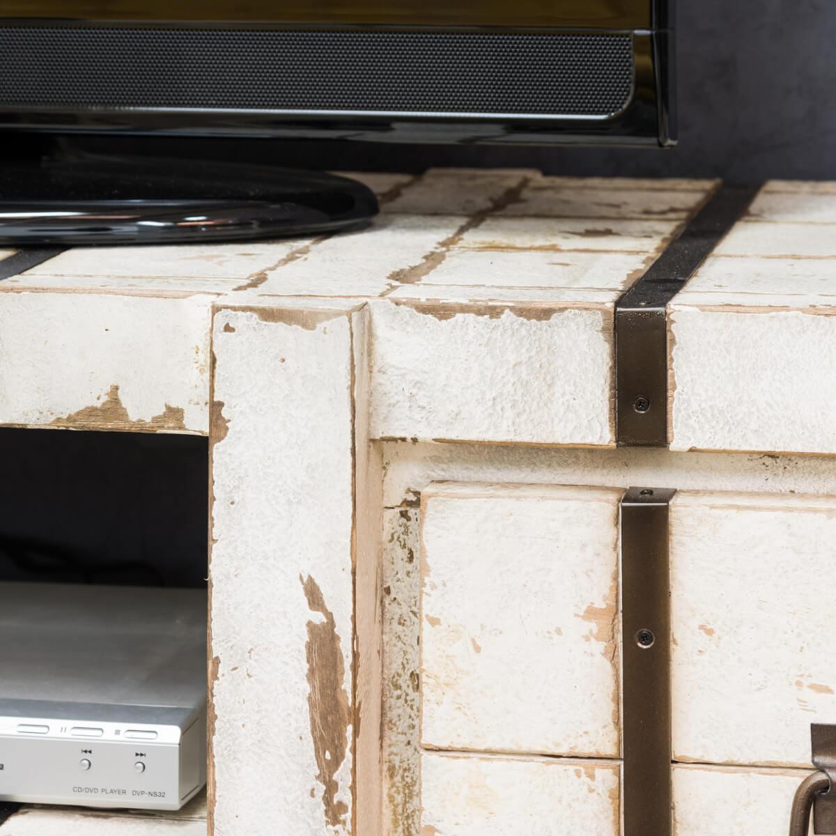 Meuble Tv Loft Meuble Tv Industriel Bois Massif Rectangle Blanc