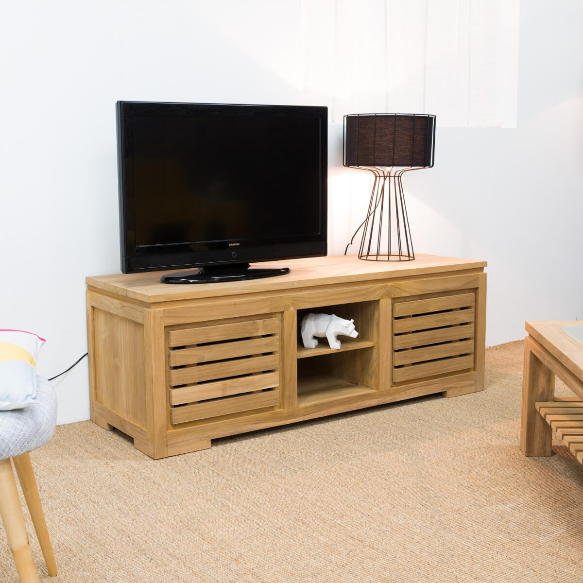 Meuble tv de salon en bois de teck massif zen rectangle naturel l 140 cm - Meuble cagette en bois ...