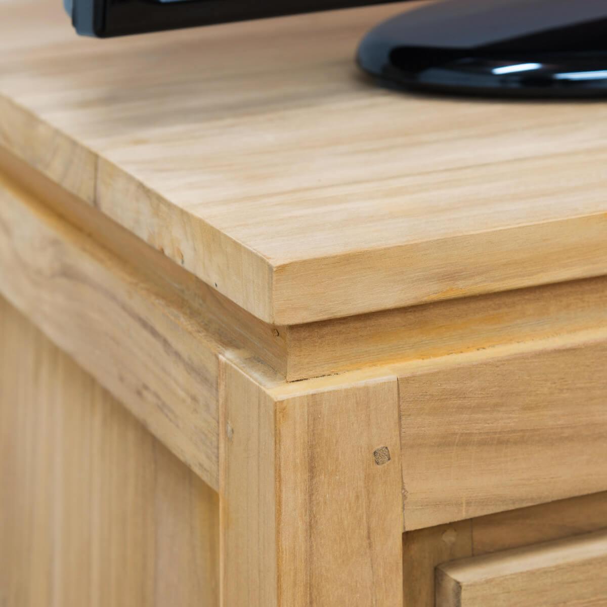 meuble tv teck meuble tv bois naturel rectangle zen. Black Bedroom Furniture Sets. Home Design Ideas