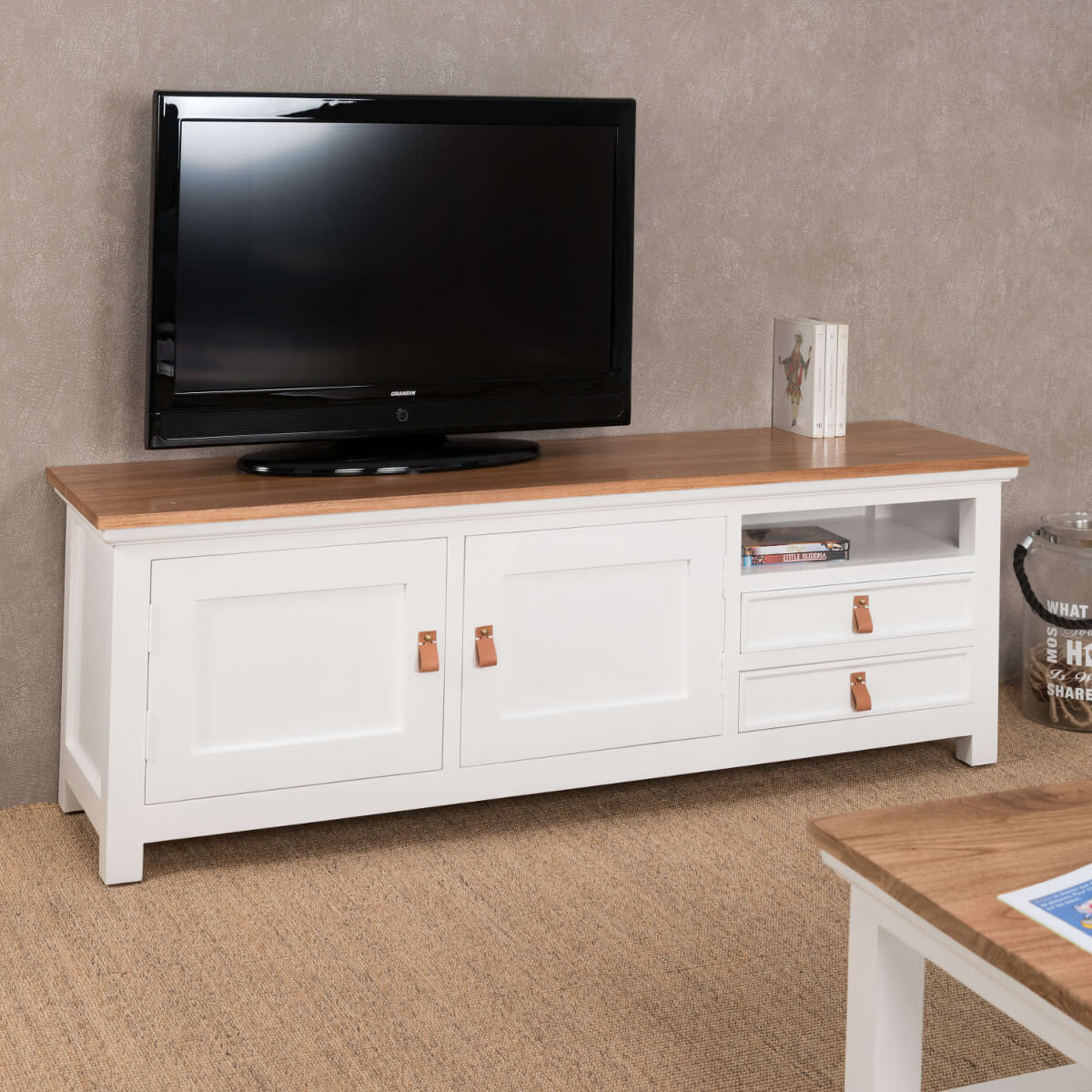 Meuble tv salon bois massif teck et pin chic rectangle for Banc tv blanc et bois