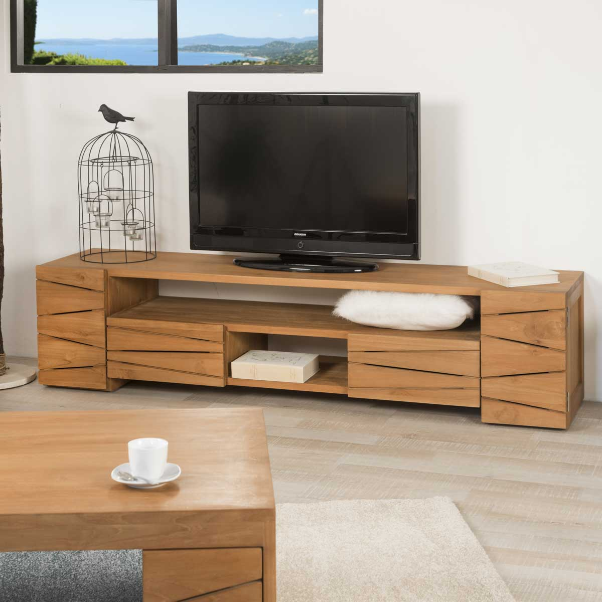 Meuble tv de salon en bois de teck massif s r nit rectangle naturel l - Meuble colonne tv ecran plat ...