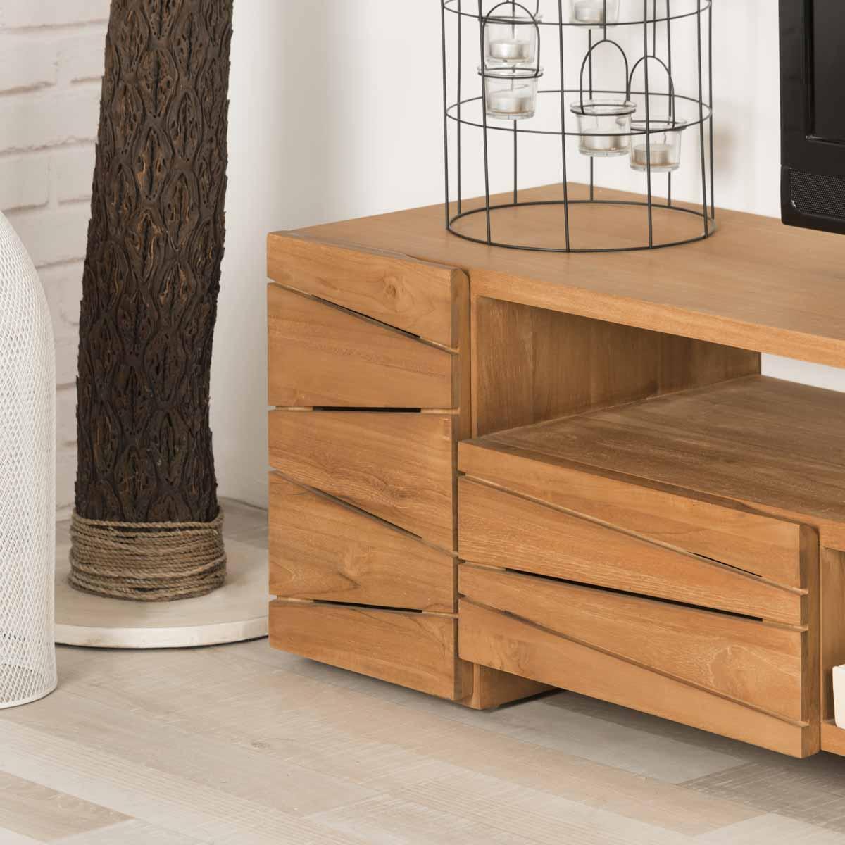 Meuble tv teck meuble tv bois naturel rectangle for Meuble en teck