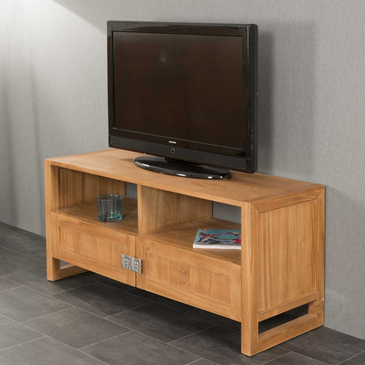 Meuble Tv Teck Meuble Tv Bois Naturel Rectangle Th A 110 X 50 Cm # Meuble Tv En Teck