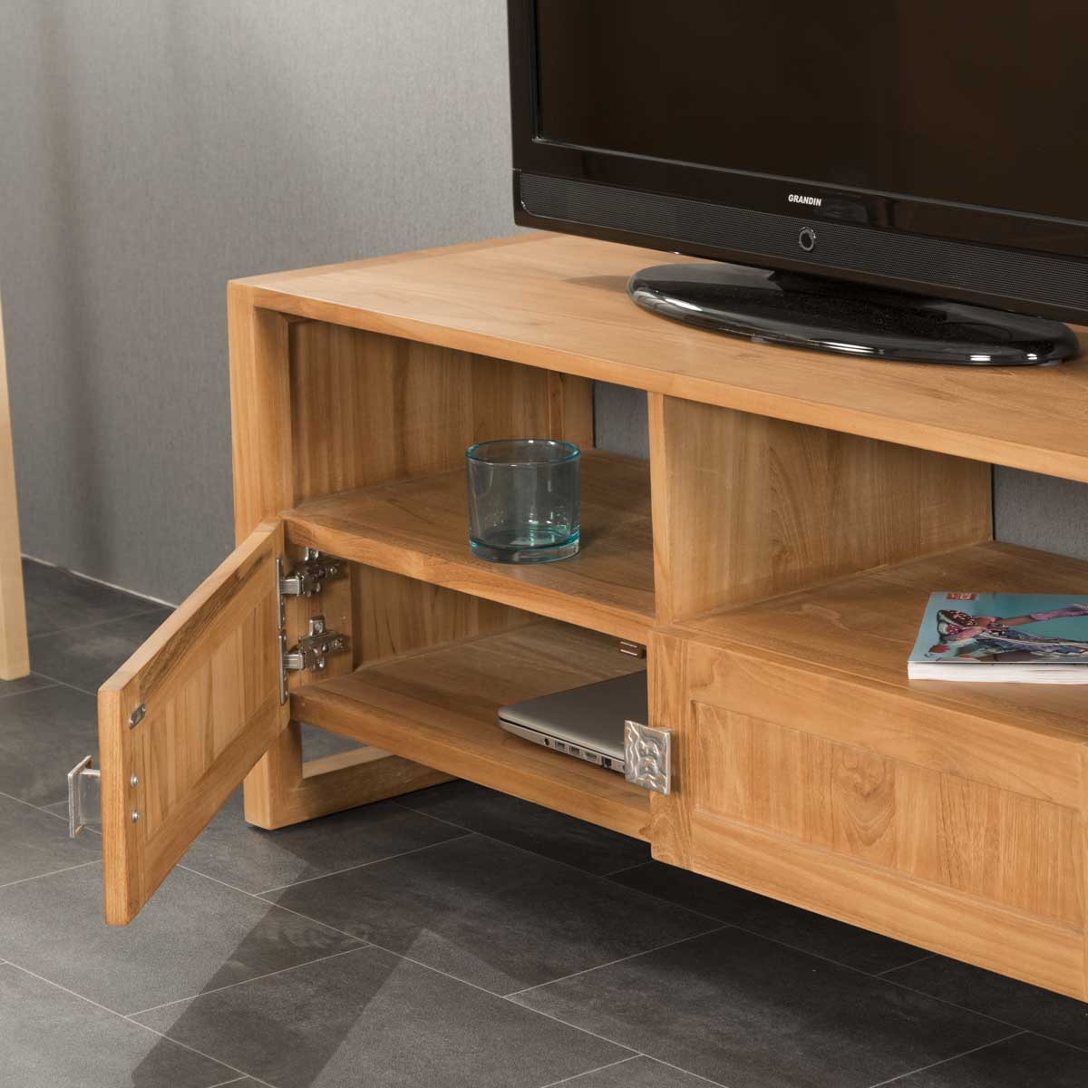 Meuble Tv Teck Meuble Tv Bois Naturel Rectangle Th A 110 X 50 Cm # Meuble Tv En Bois Exotique