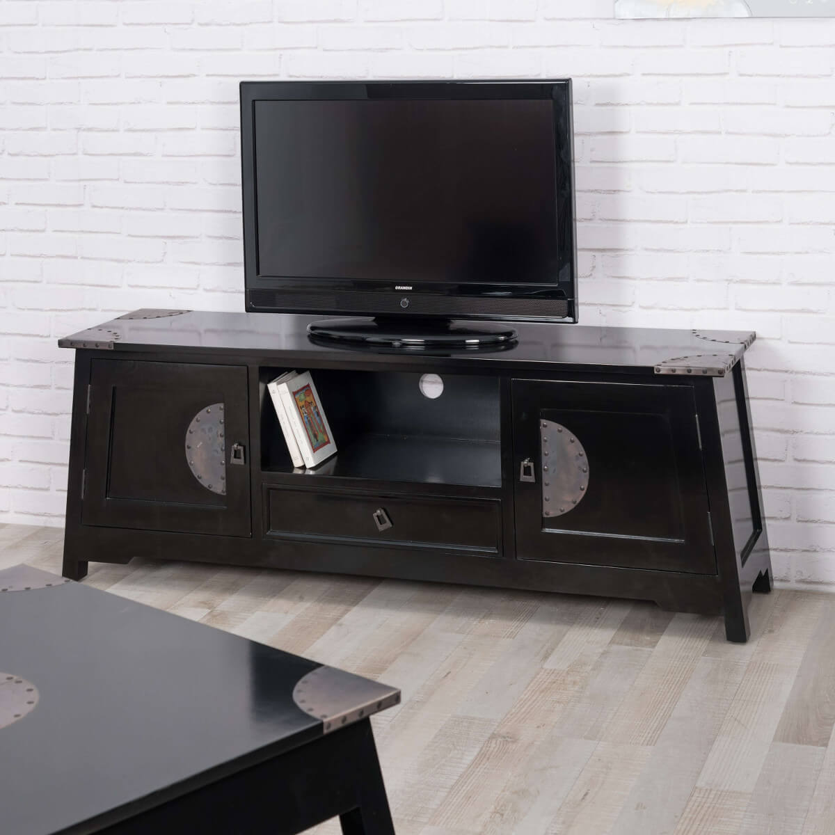 meuble tv noir meuble tv bois metal rectangle acajou. Black Bedroom Furniture Sets. Home Design Ideas