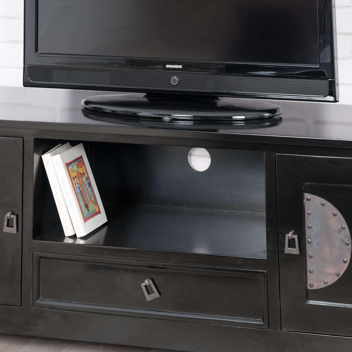meuble tv noir meuble tv bois metal rectangle acajou thao 150 cm. Black Bedroom Furniture Sets. Home Design Ideas
