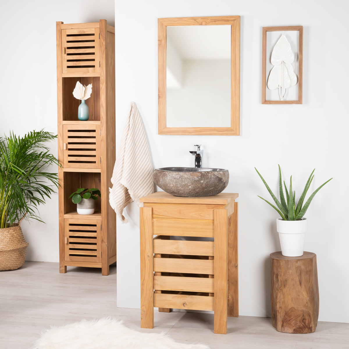 Meuble sous vasque simple vasque en bois teck massif zen rectangle naturel l 50 cm - Salle de bain rustique contemporain ...