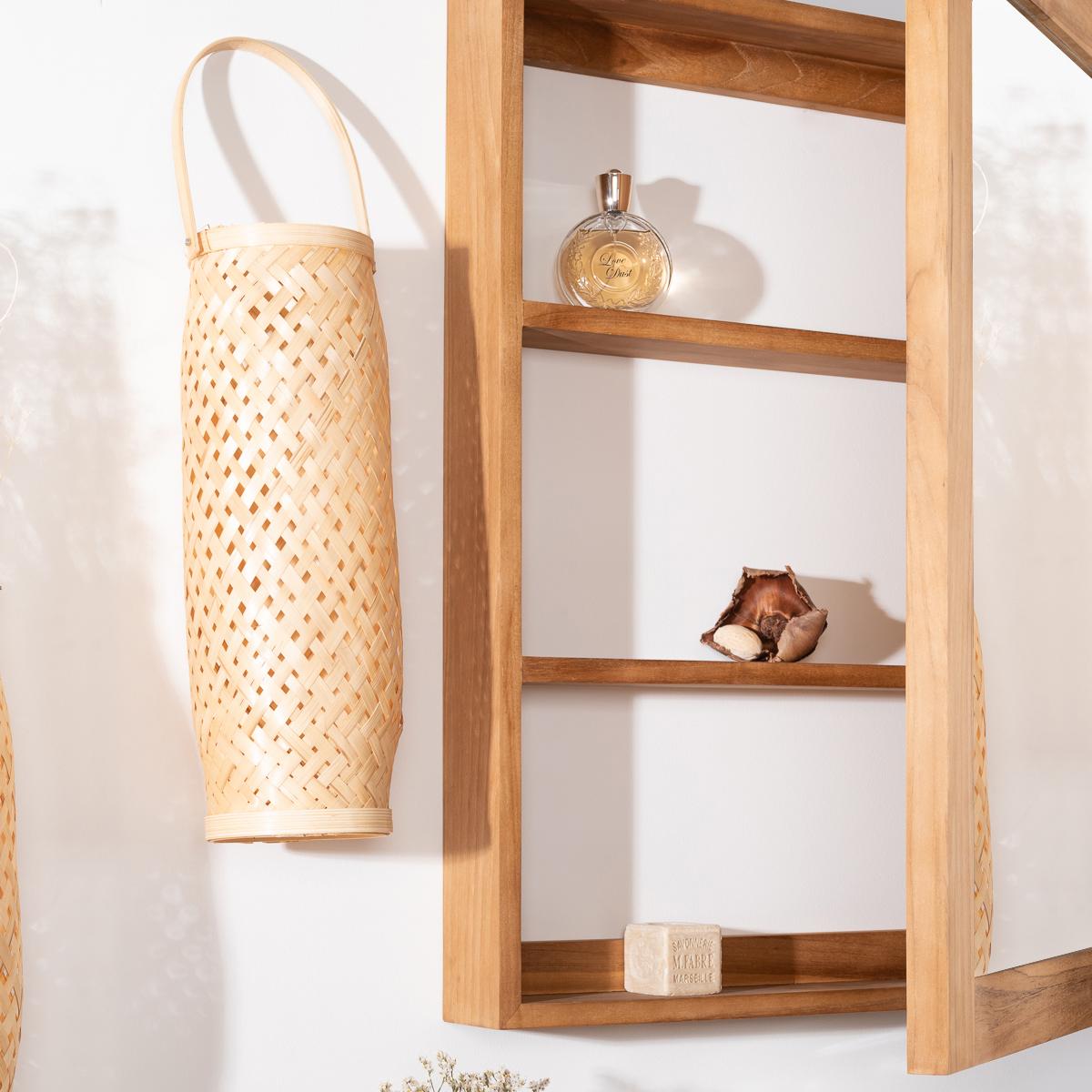 miroir teck miroir armoire de toilette en bois massif rectangulaire 63 cm. Black Bedroom Furniture Sets. Home Design Ideas