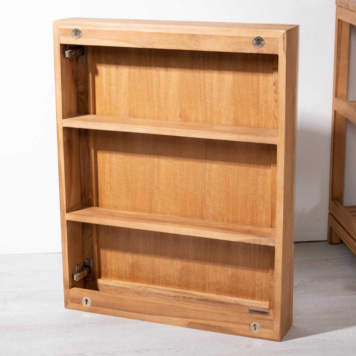 Miroir teck miroir armoire de toilette en bois massif rectangulaire 63 cm - Armoire salle de bain bois ...
