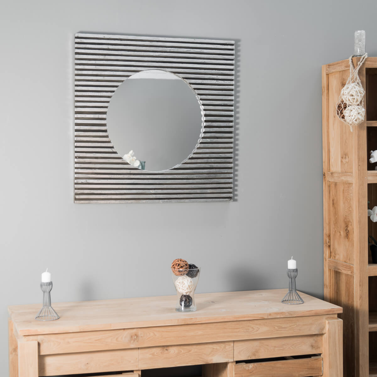 miroir de d coration en bois massif art d co carr argent l 80 cm. Black Bedroom Furniture Sets. Home Design Ideas