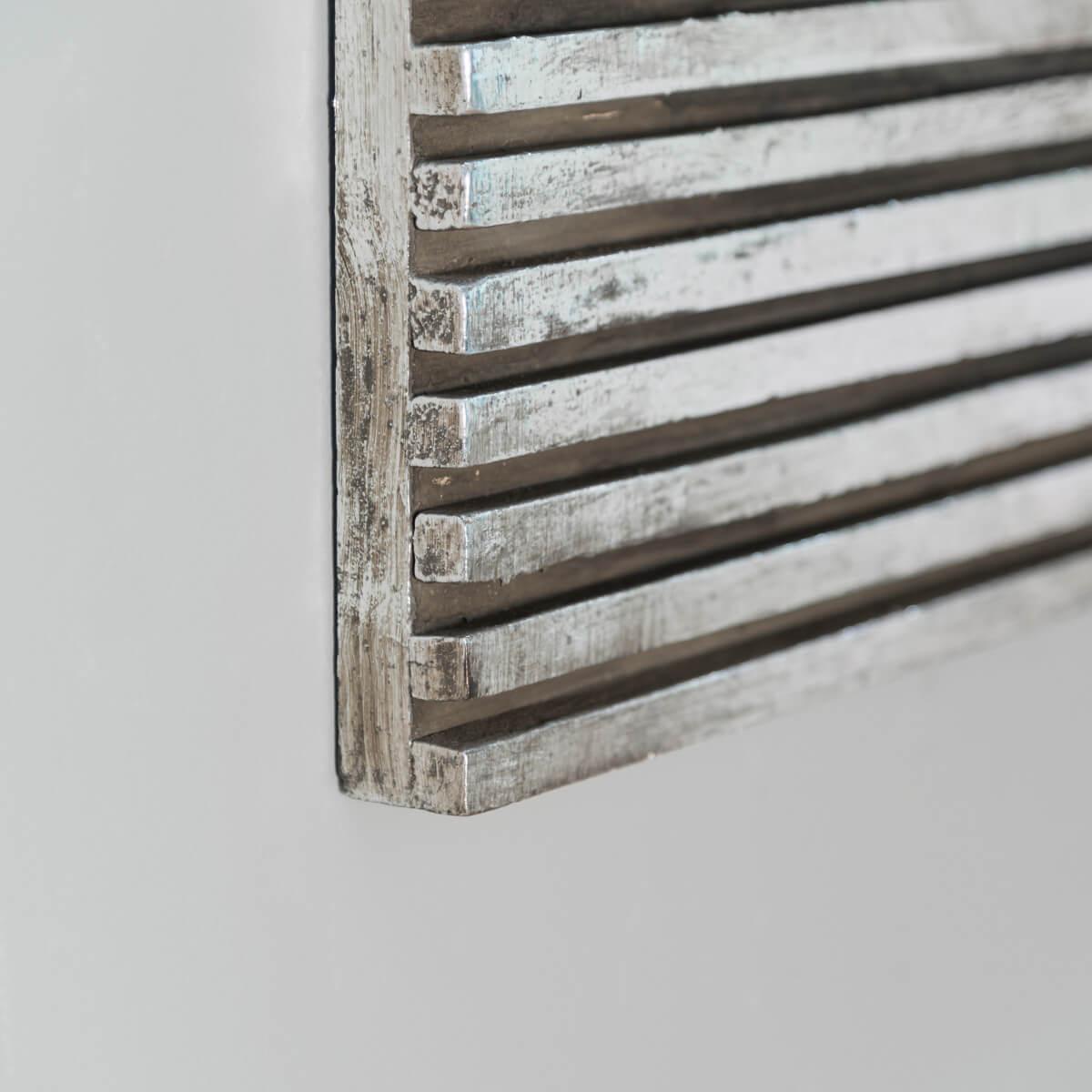 miroir de d coration en bois massif art d co carr argent l 80 cm. Black Bedroom Furniture Sets. Home Design Ideas