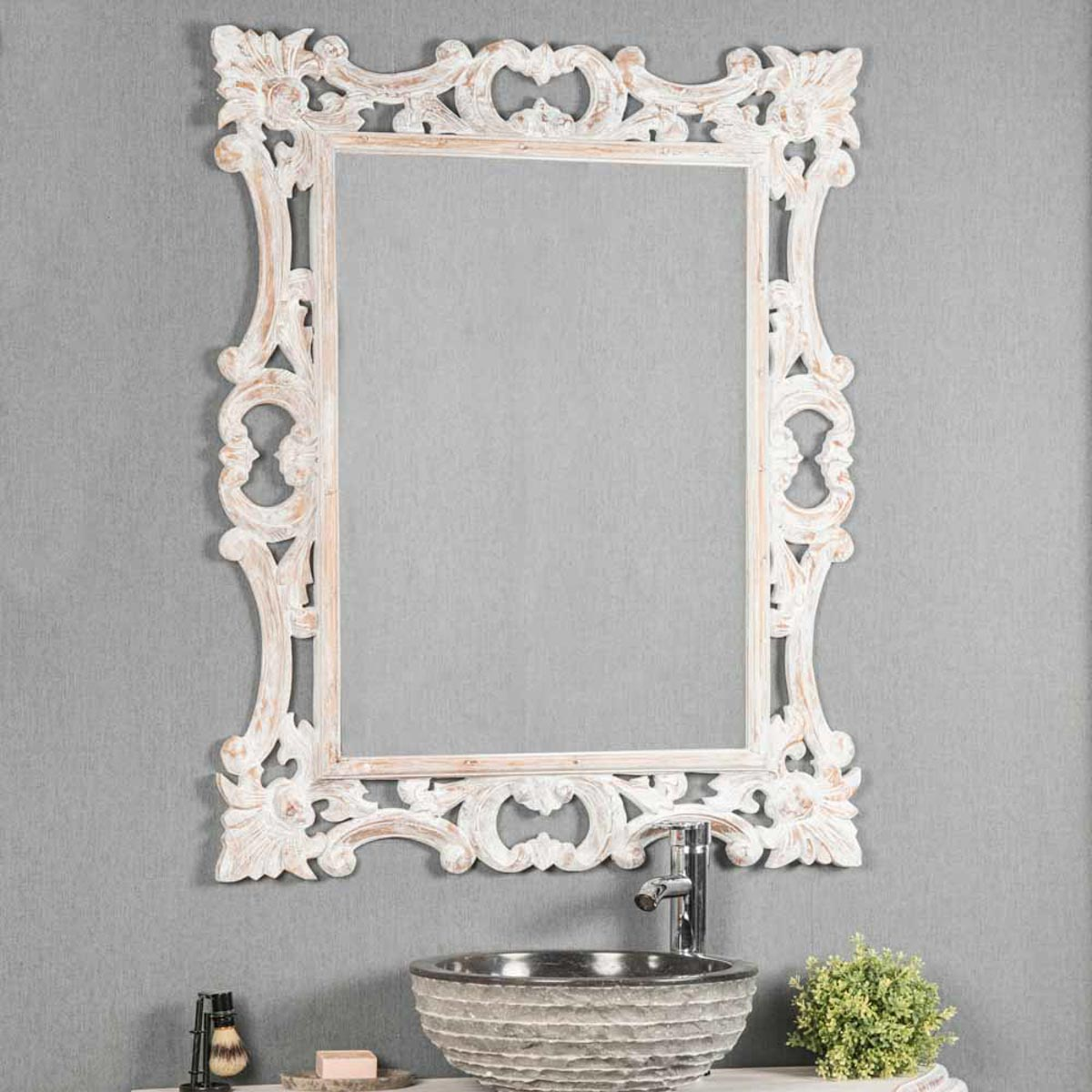 miroir de d coration en bois massif baroque rectangulaire bois patin blanc l 100 cm. Black Bedroom Furniture Sets. Home Design Ideas