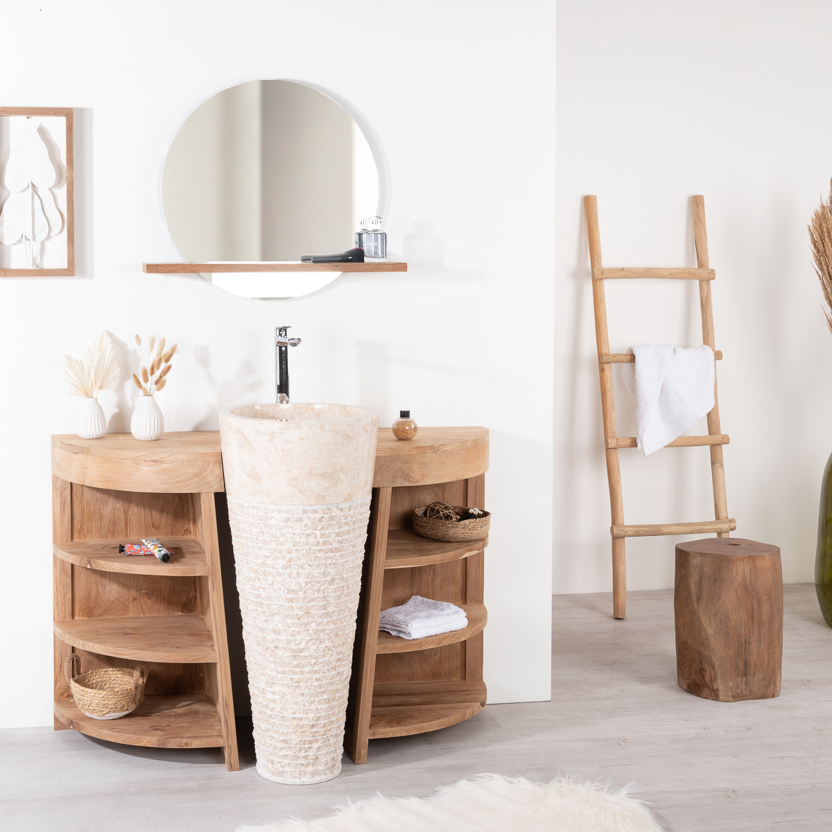 miroir de salle de bain tablette en bois massif teck bologne rond naturel d 60 cm. Black Bedroom Furniture Sets. Home Design Ideas