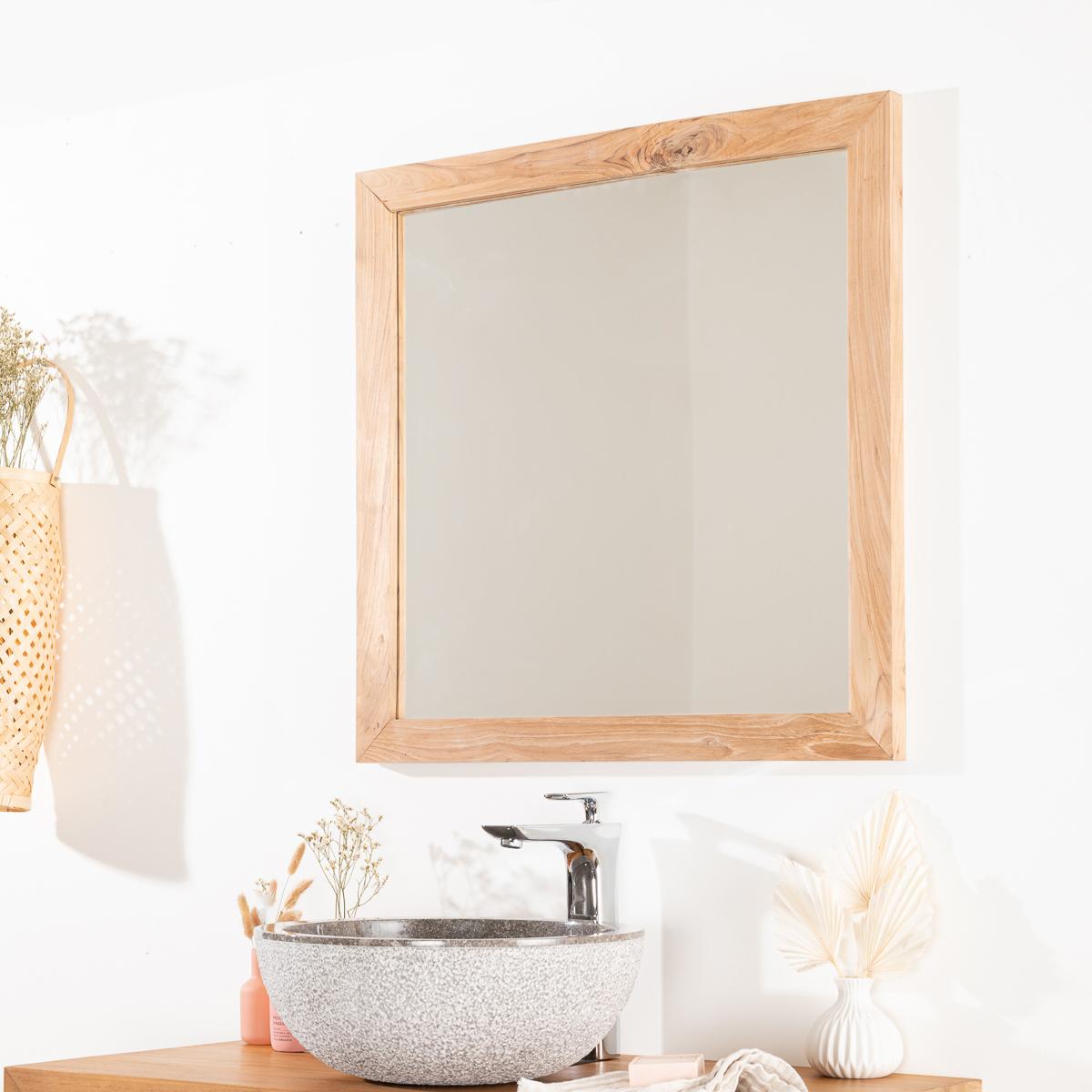 Miroir de salle de bain en bois teck massif nature for Meuble 70x70