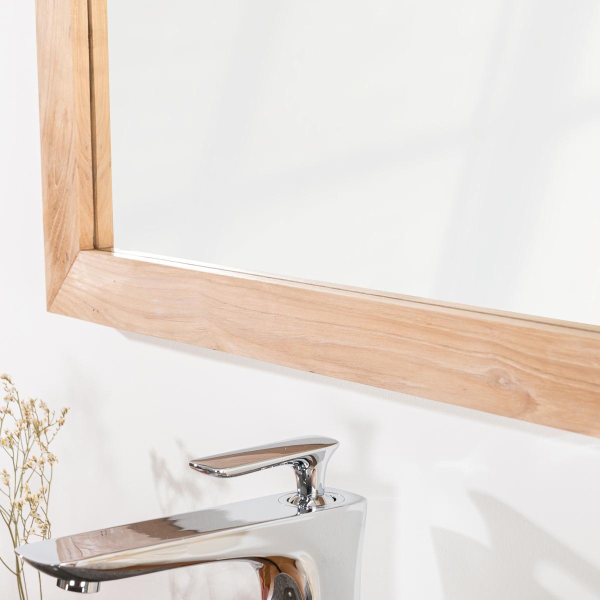 Miroir de salle de bain en bois teck massif nature for Salle de bain en teck massif