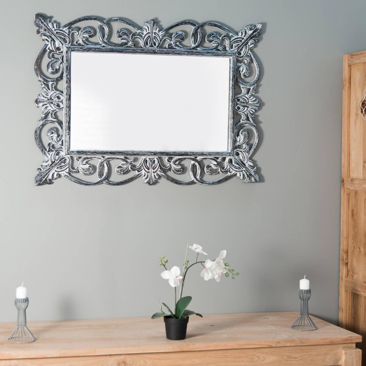 miroir de d coration en bois massif cordoue rectangulaire bois patin c rus argent d. Black Bedroom Furniture Sets. Home Design Ideas