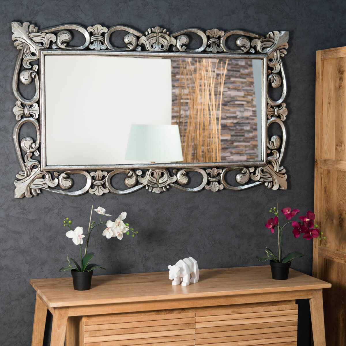 Miroir cordoue en bois patin argent 140 x 80 for Grand miroir salon