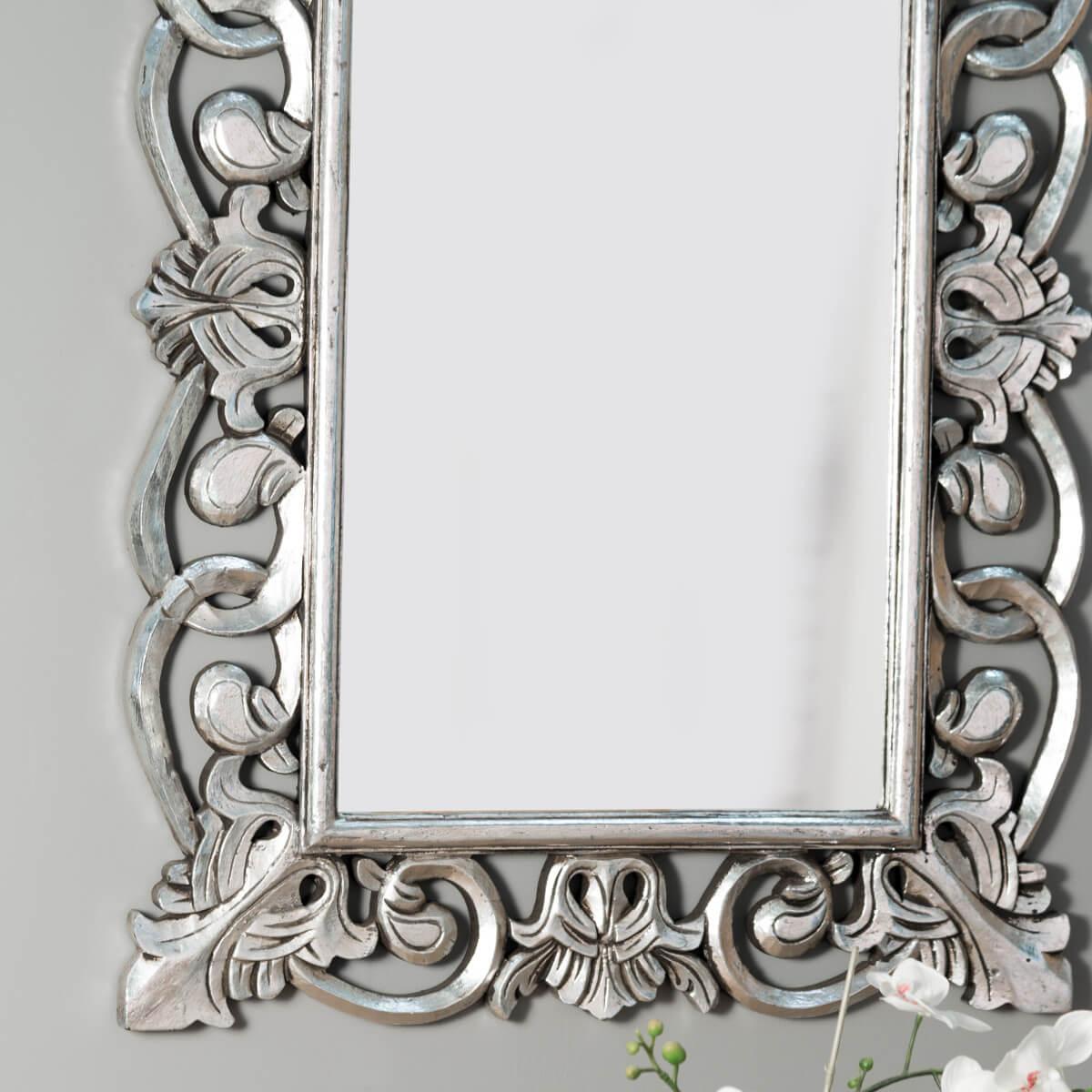 Miroir de d coration en bois massif cordoue for Miroir baroque salle de bain