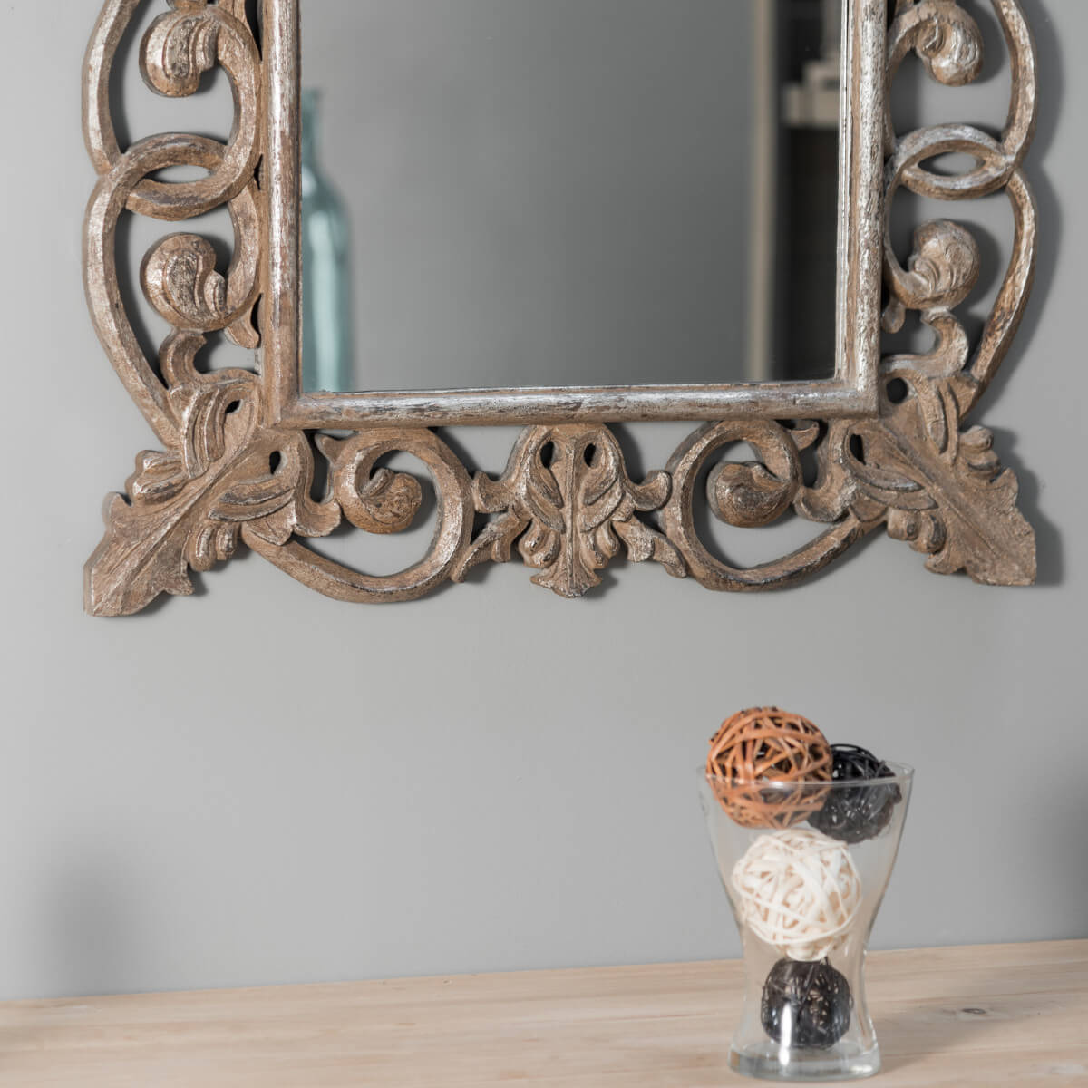 Miroir cordoue en bois patin bronze 100 x 70 for Miroir rectangulaire baroque