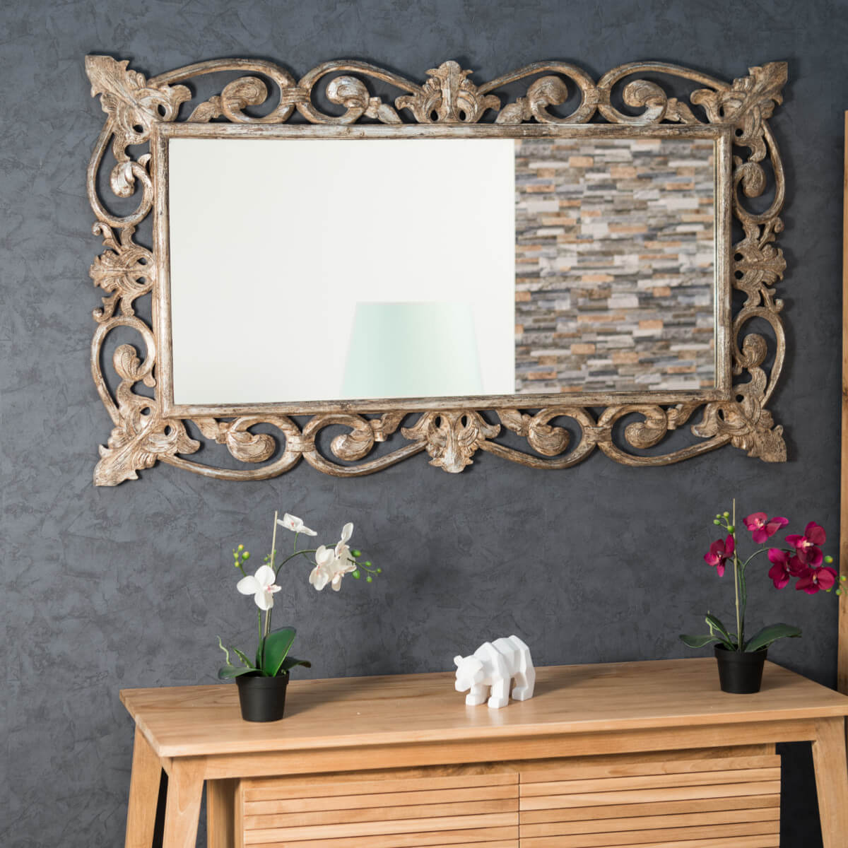 Miroir cordoue en bois patin bronze 140x80 for Miroir 140 x 70