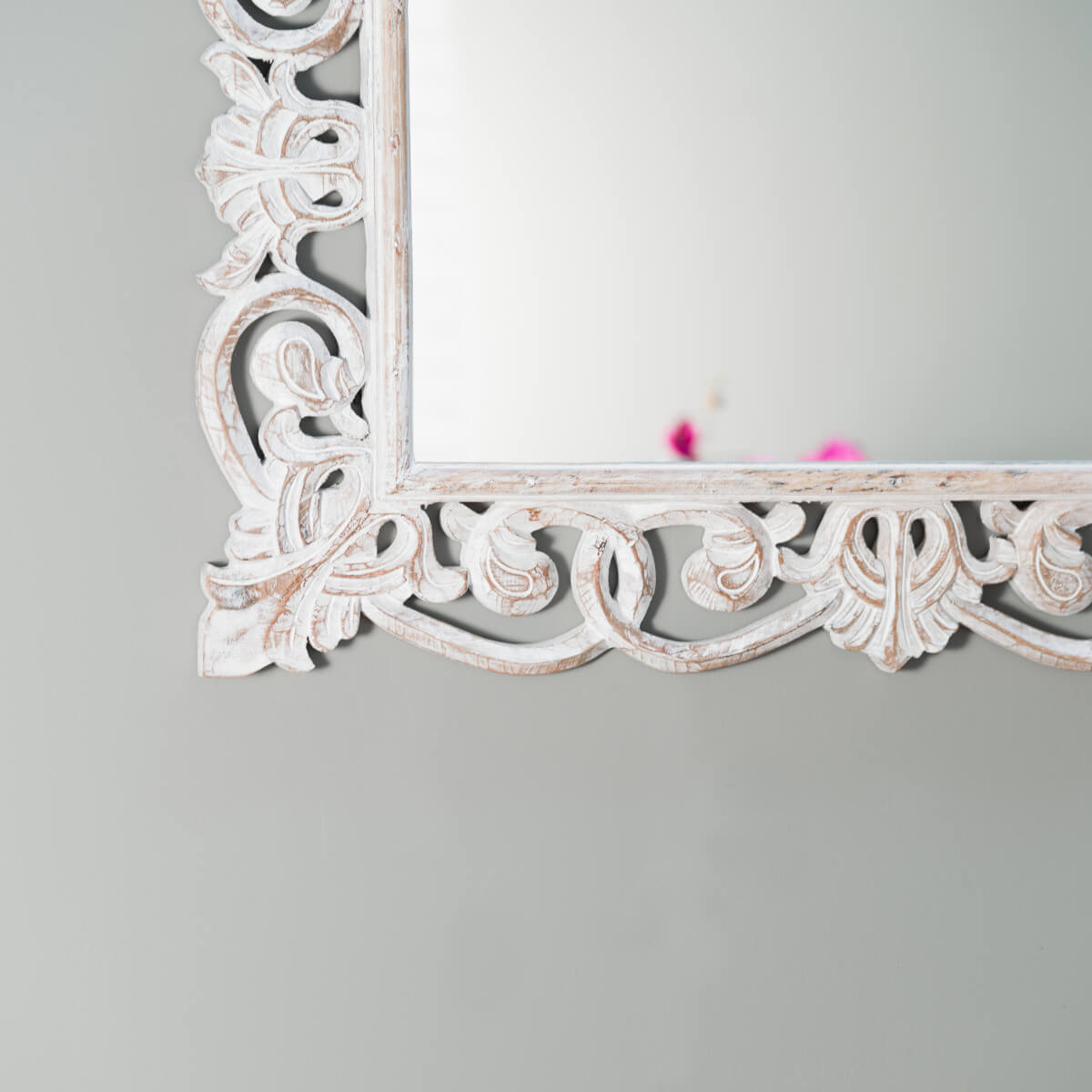 Miroir de d coration en bois massif cordoue - Blanc de ceruse ...