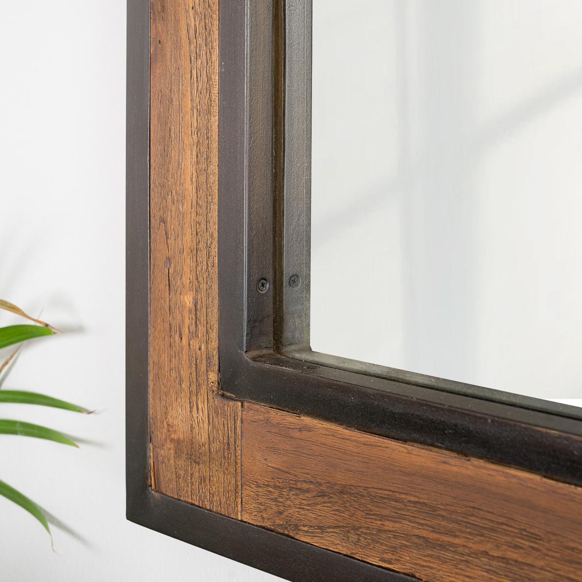 Miroir de salle de bain l gance bois m tal 60x80 for Miroir bois metal