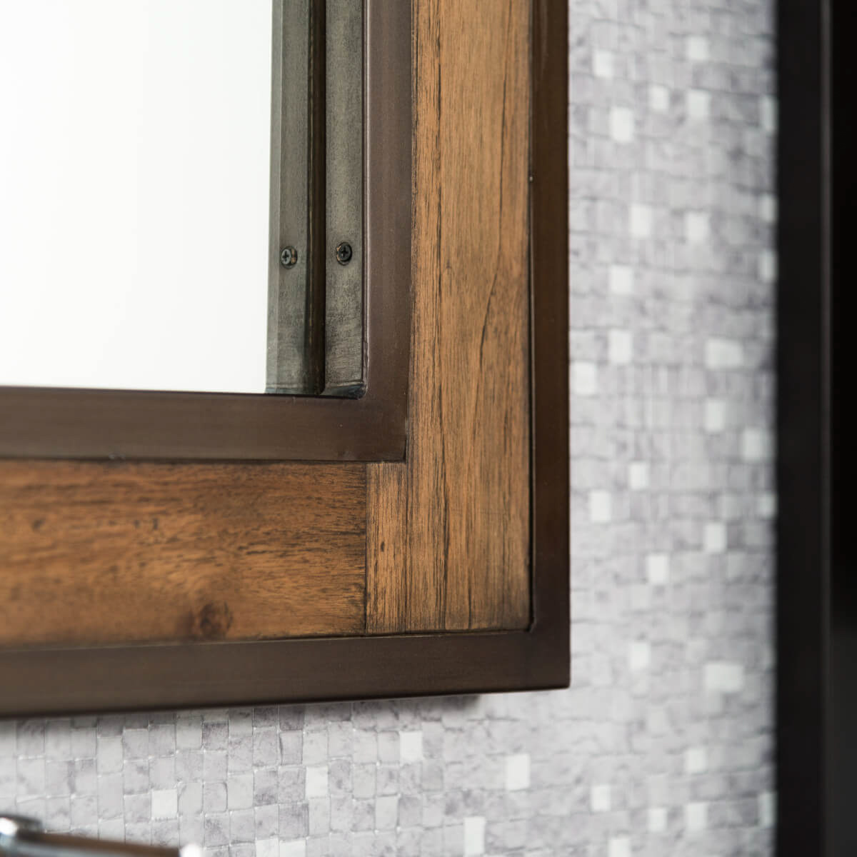 Miroir salle de bain bois m tal 60x80 cm for Salle de bain annee 60