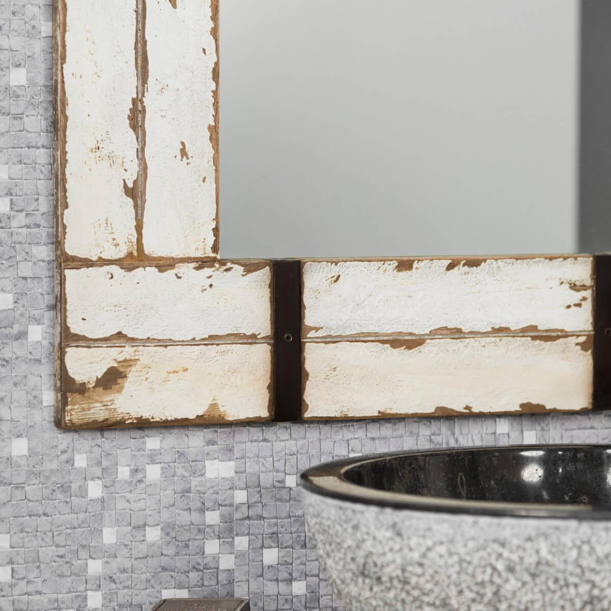 Miroir de salle de bain en mindi 60x80 loft blanc for Miroir 60 cm de large