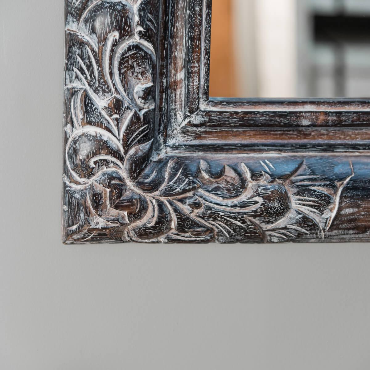 miroir en bois patin valence 70 x 100 c rus gris. Black Bedroom Furniture Sets. Home Design Ideas