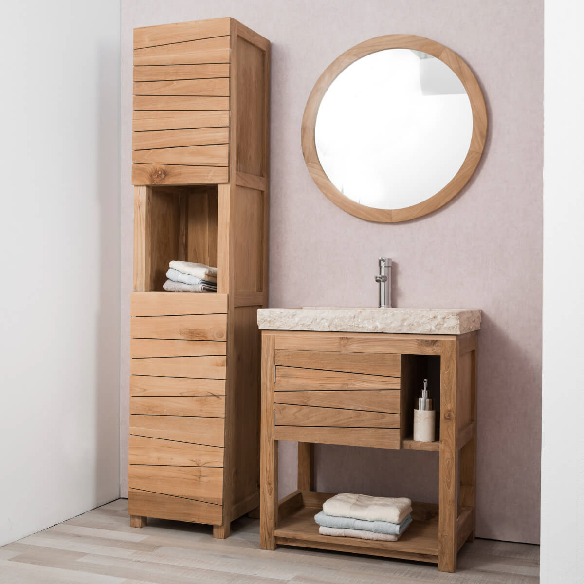 miroir de salle de bain en bois teck massif hublot rond naturel d 68 cm. Black Bedroom Furniture Sets. Home Design Ideas