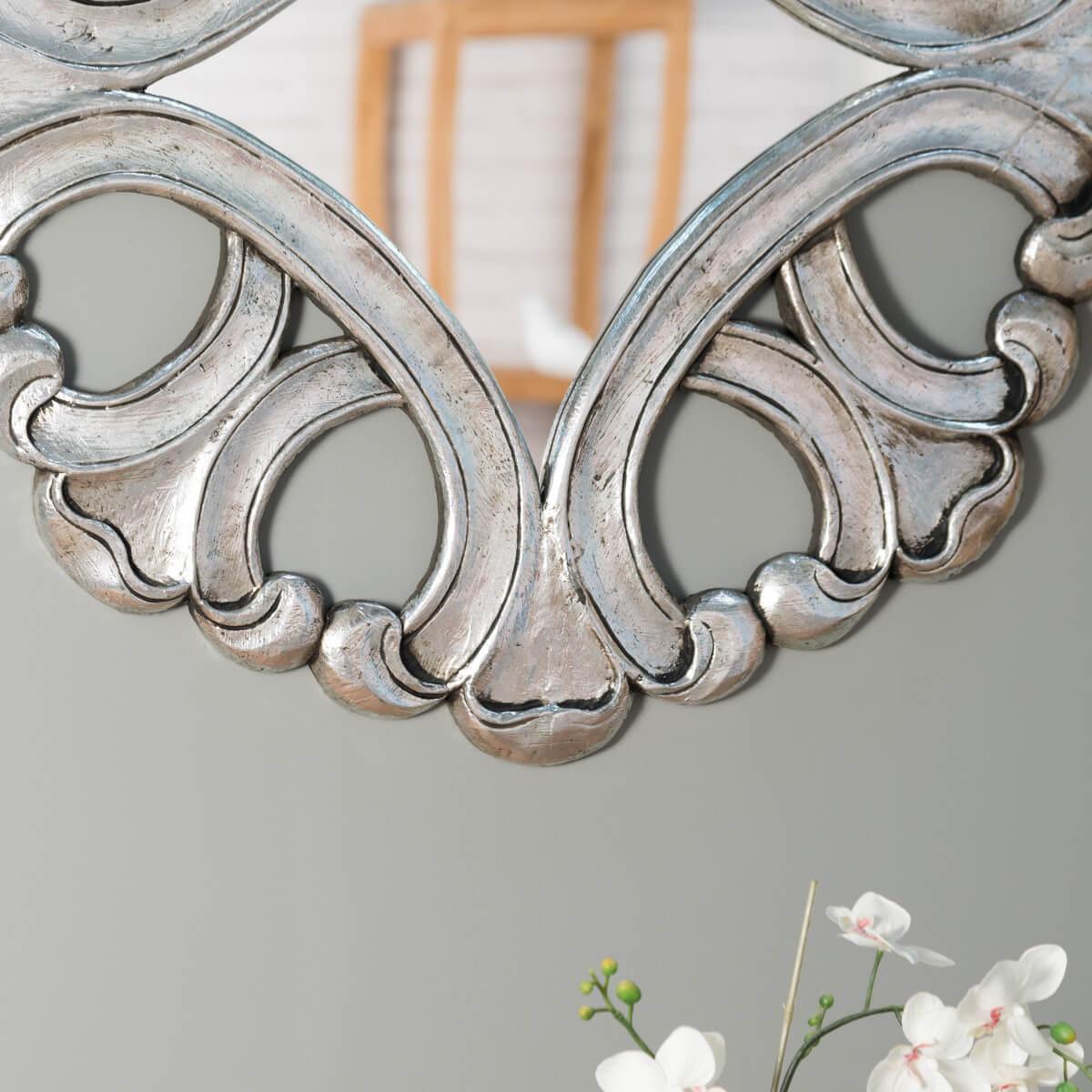 miroir de d coration en bois massif imp rial rond. Black Bedroom Furniture Sets. Home Design Ideas