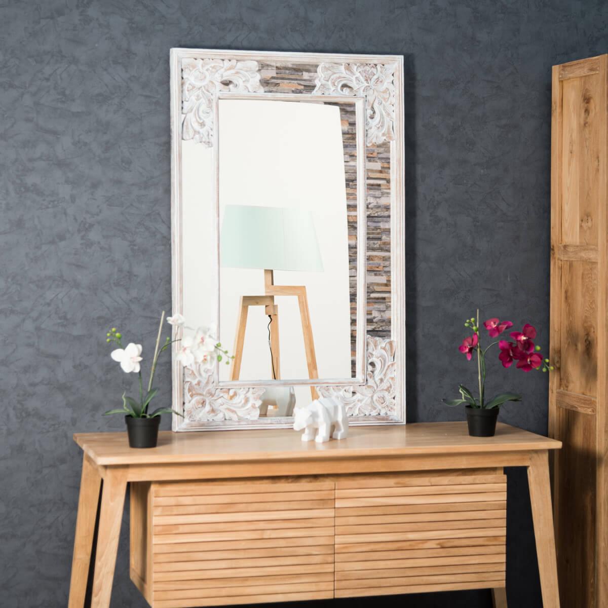 miroir de d coration en bois massif mathilde carr bois patin blanc d 1 m 10 x 70 cm. Black Bedroom Furniture Sets. Home Design Ideas