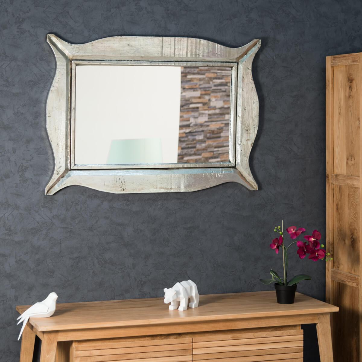 miroir de d coration en bois massif moderne rectangulaire bois patin argent d 70 x 100 cm. Black Bedroom Furniture Sets. Home Design Ideas