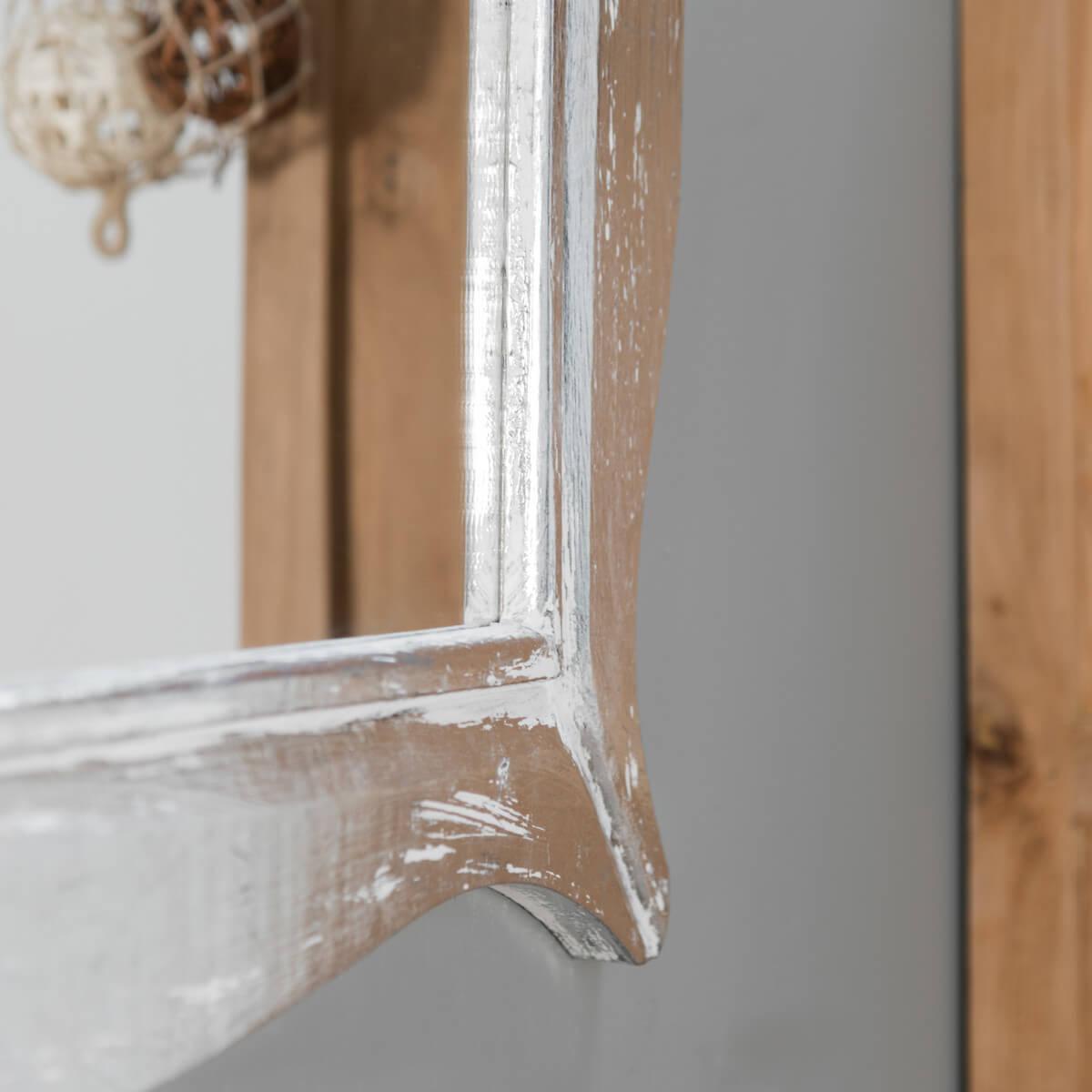 Miroir moderne en bois patin blanc argent 70cm x 100cm for Miroir 70 x 100