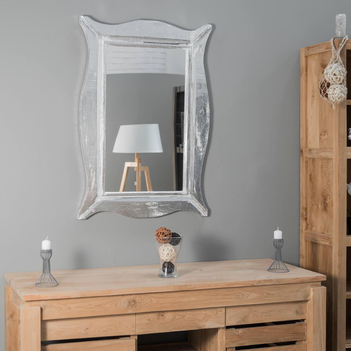 Miroir Moderne En Bois Patine Blanc Argente 70cm X 100cm