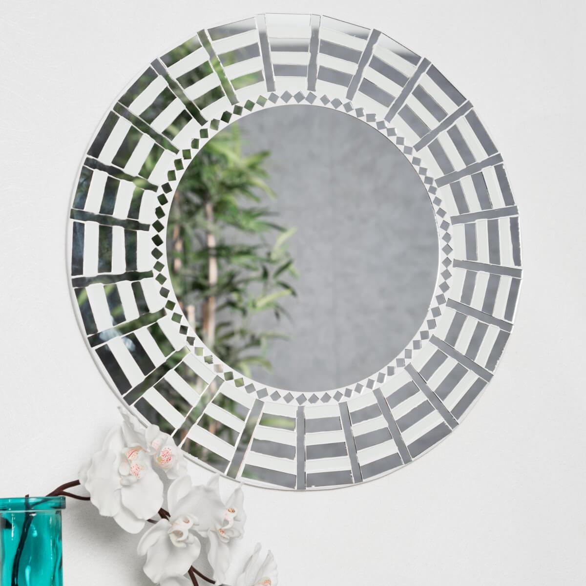 Miroir mosaique design blanc argent 50cm salon chambre for Miroir mosaique design