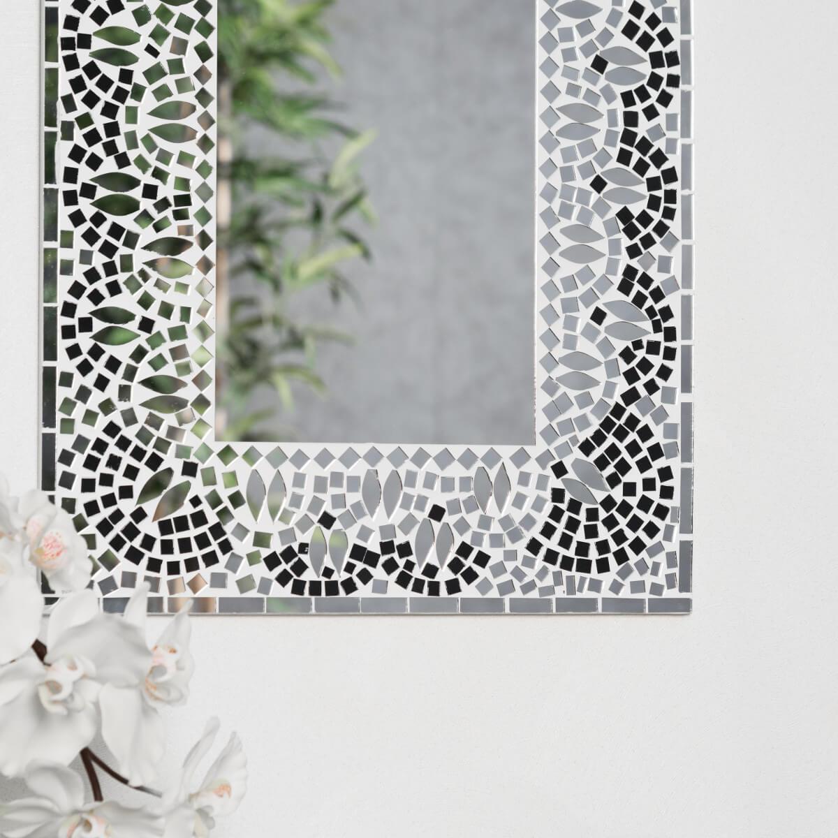 Miroir mosaique design noir et blanc 40cm x 50cm salon chambre for Miroir mosaique design