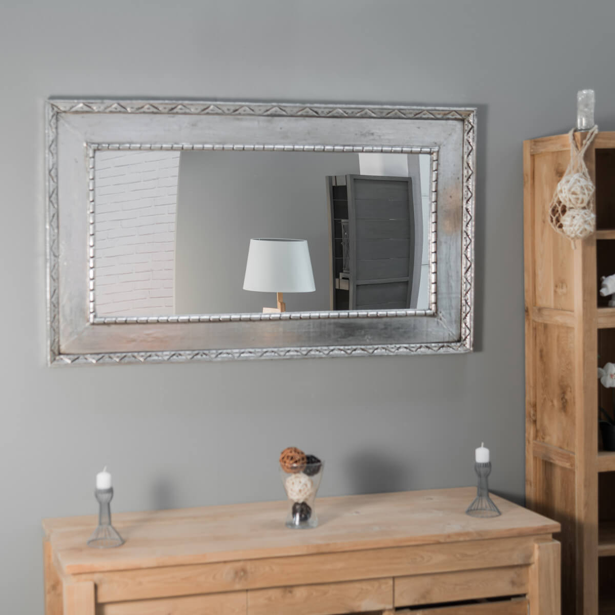 miroir palerme en bois patin argent 140cm x 80cm. Black Bedroom Furniture Sets. Home Design Ideas