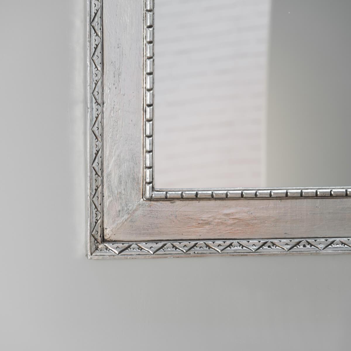 Miroir palerme en bois patin argent 140cm x 80cm for Miroir long argente