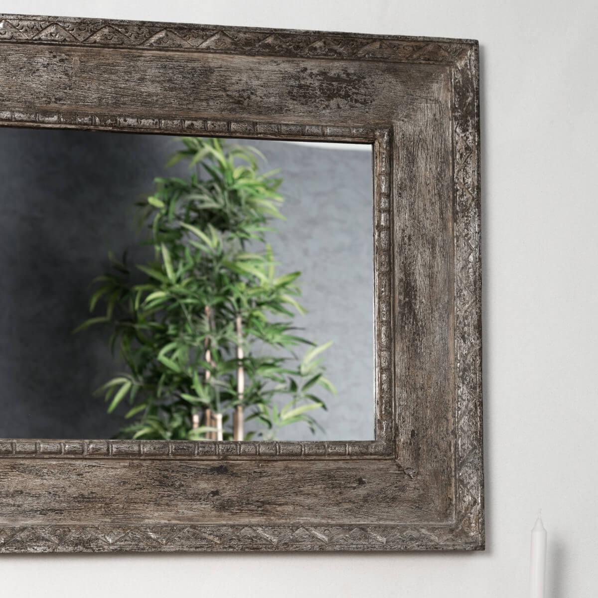 Miroir palerme en bois patin bronze c rus 100cm x 70cm for Miroir bois ceruse