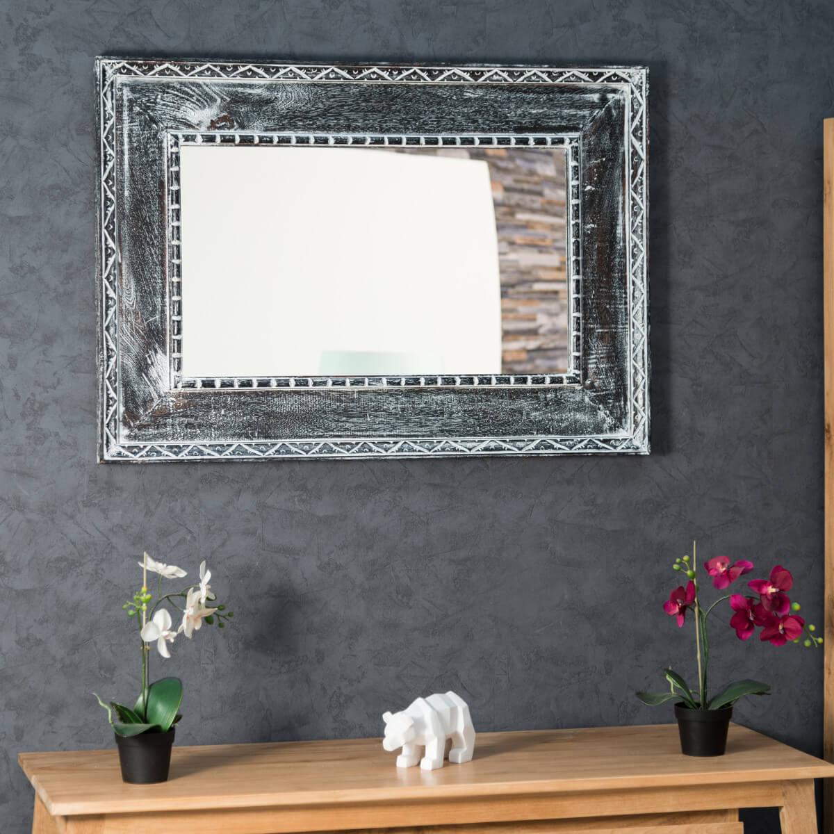 Miroir palerme en bois patin gris c rus 100cm x 70cm for Miroir 70 cm