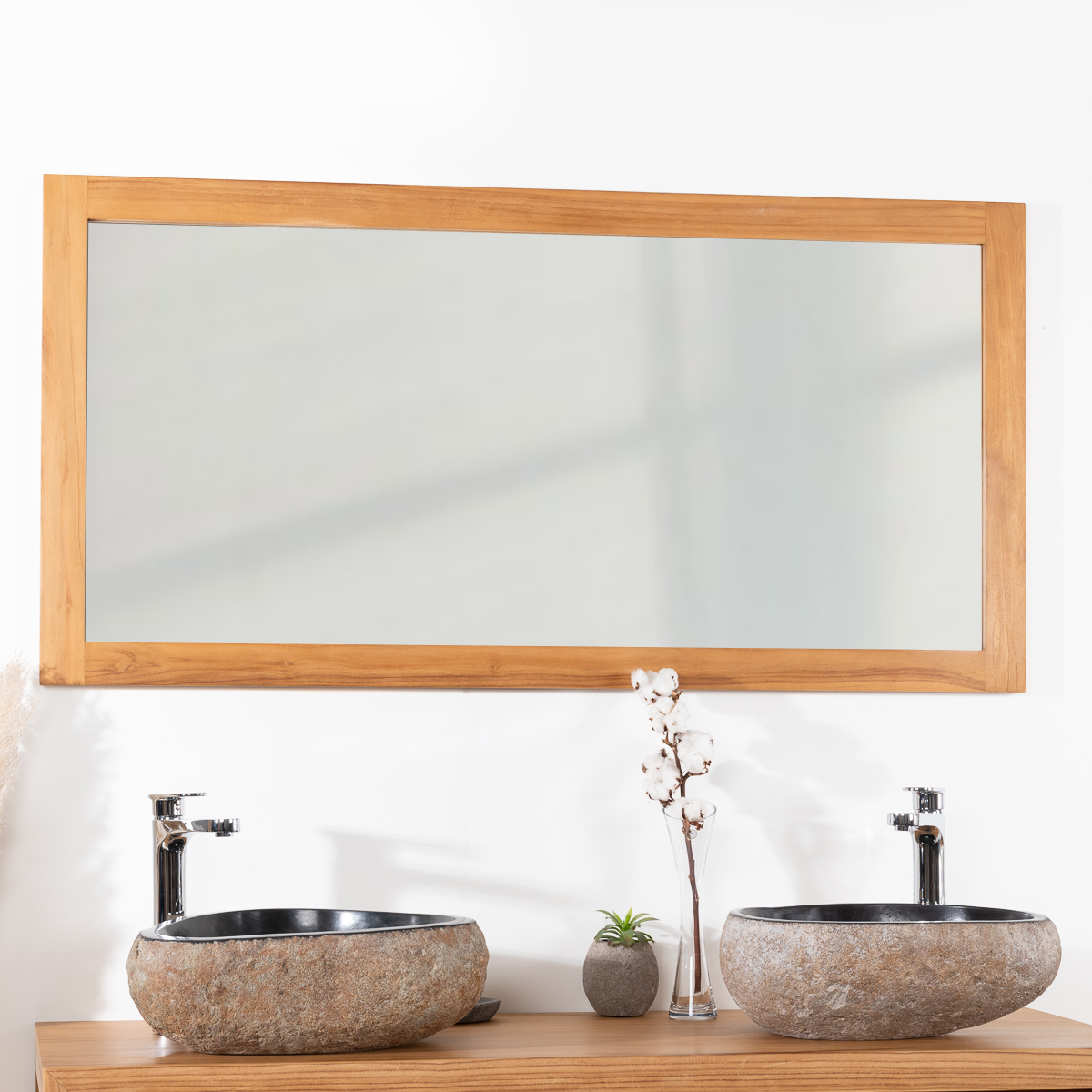 Miroir rectangle en teck massif 140x70 - Wanda collection ...