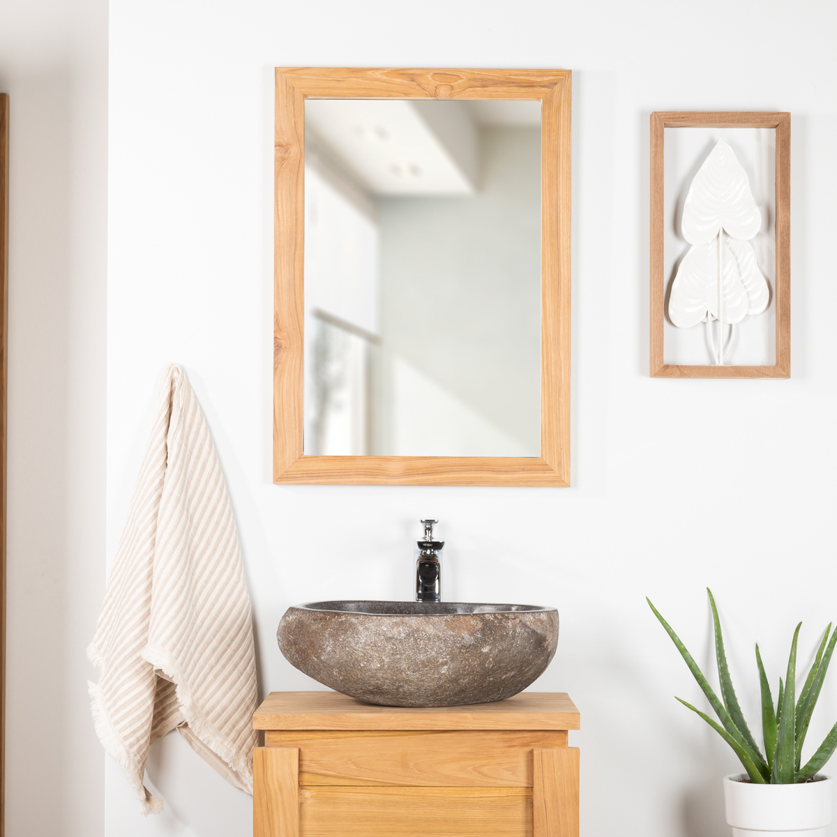 Miroir rectangle en teck massif 70x50 for Collection miroir